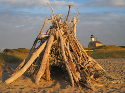Lean-to made of driftwood